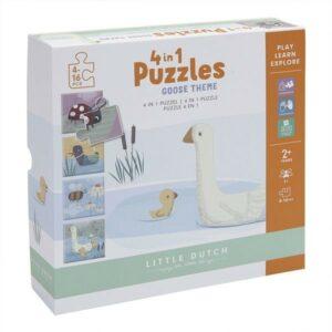 Little Dutch Puzzle 4 rodzaje zwierzątek LD4754 Little Goose